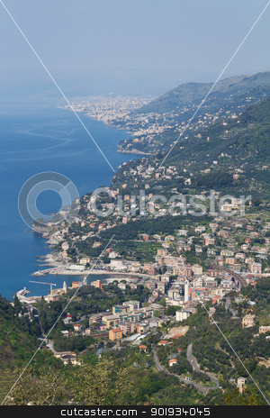 Recco, aerial view, Italy stock photo, aerial view of Recco, small town in mediterranean sea, Italy by ANTONIO SCARPI