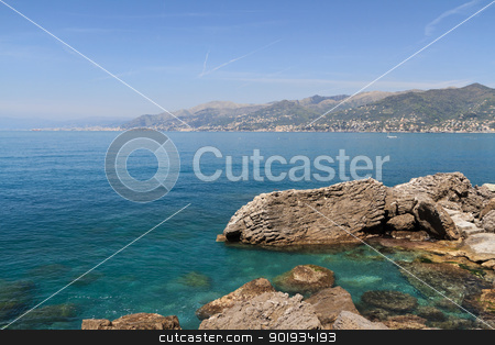 Golfo Paradiso, Camogli, Italy stock photo, summer view of Paradiso gulf  from Punta Chiappa,  Liguria, Italy by ANTONIO SCARPI