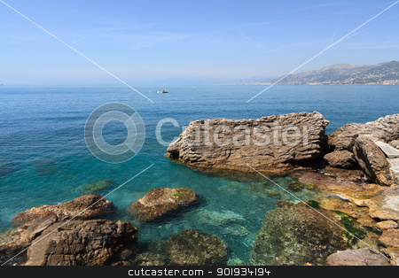Golfo Paradiso, Liguria, Italy stock photo, summer view of Paradiso gulf  from Punta Chiappa,  Liguria, Italy by ANTONIO SCARPI