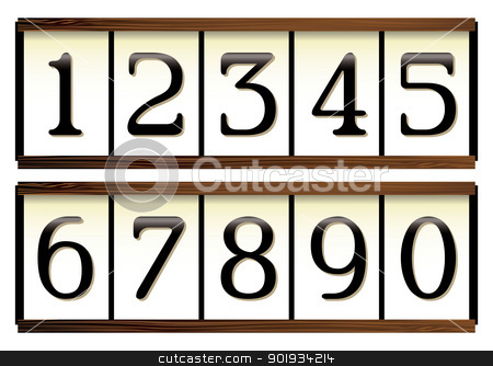 Door numbers stock vector clipart, Door or house numbers on a wooden board and a porcelain look by Michael Travers
