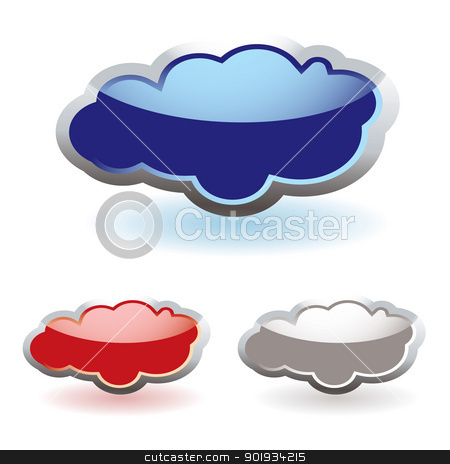 Glass fluffy clouds stock vector clipart, Glass fluffy colored clouds with shadow icon by Michael Travers