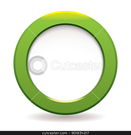 Green circle icon stock vector clipart, Green large bevel with white copyspace for your text by Michael Travers