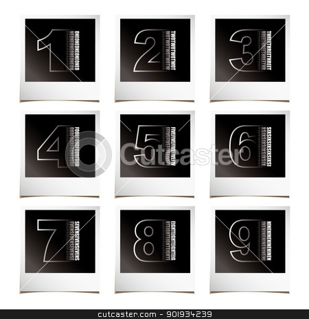 Photo numbers stock vector clipart, Collection of numbers with instant photos and shadow by Michael Travers