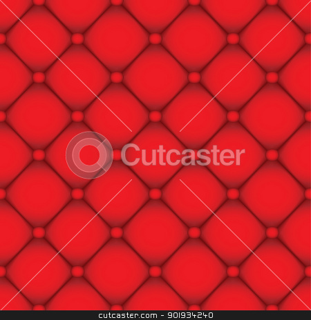 Red leather background stock vector clipart, Seamless red leather tile background with buttons by Michael Travers