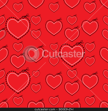 Red love heart template stock vector clipart, Red seamless love heart background ideal tile template by Michael Travers