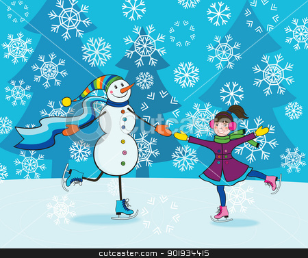 Girl with snowman skating stock vector clipart, Happy little girl and funny smiling snowman skating by Allaya