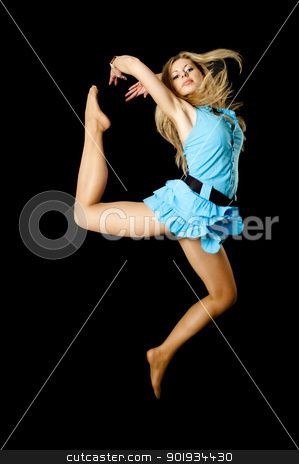 Attractive girl in jump stock photo, Young attractive blond jumping with hair flying by Aikon