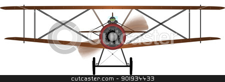 Biplane stock vector clipart, Front view of a WWI fighter plane.  by Kotto