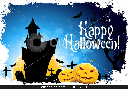 Happy Halloween Card stock vector clipart, Abstract Halloween Card with Message