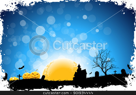 Halloween Night stock vector clipart, Grungy Halloween Background with Pumpkins, Bats, House and Full Moon by Vadym Nechyporenko
