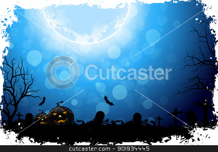 Halloween Night stock vector clipart, Grungy Halloween Background with Pumpkins, Bats and Full Moon by Vadym Nechyporenko