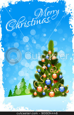 Merry Christmas Greeting Card stock vector clipart, Grungy Christmas Greeting Card with Christmas Tree by Vadym Nechyporenko
