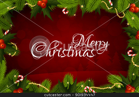 Merry Christmas Greeting Card stock vector clipart, Christmas Card with Message