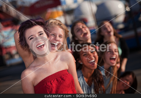 Hysterical Group of Girls Laughing stock photo, Group of girls hanging out and laughing together by Scott Griessel