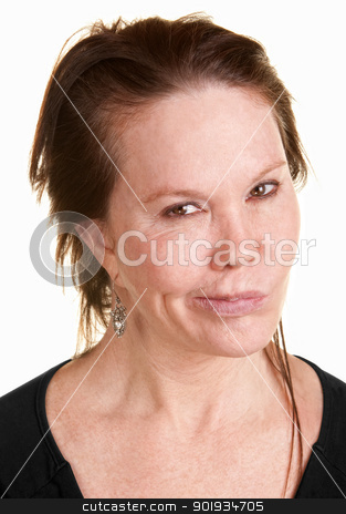 Doubtul Woman Over White Background stock photo, Doubtful Caucasian woman in black over white background by Scott Griessel