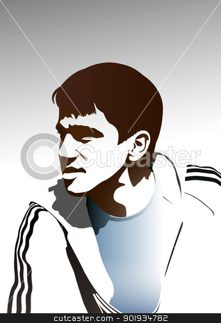Young footballer stock vector clipart, Young footballer by Seyyah
