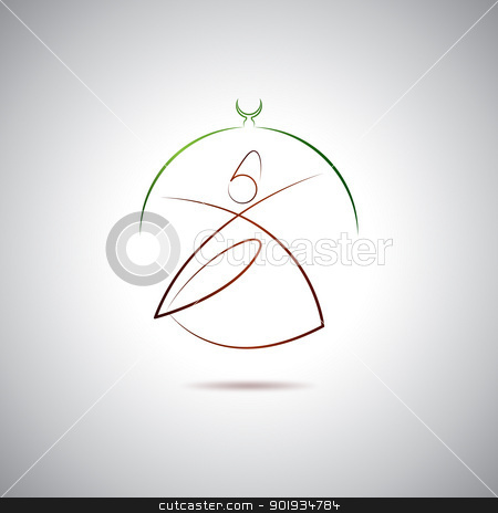 Dervish logo stock vector clipart, Turkish Dervish in Konya by Seyyah