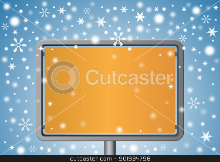 Signboard under snowflakes stock vector clipart, Signboard under snowflakes by Seyyah