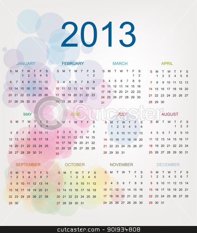 Calendar for Year 2013 stock vector clipart, Calendar for Year 2013 by Erdem