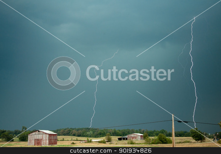 Two Bolts stock photo, Lightning strikes a farm in central Kentucky. by Joe Tabb