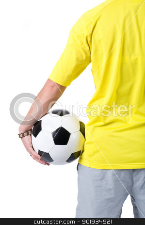 Soccer player stock photo, Full isolated picture of a  caucasian person with a football by Picturehunter