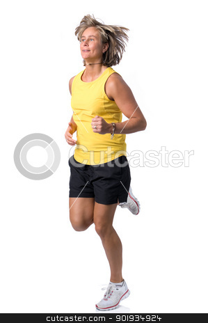 Running woman stock photo, Full isolated picture of a  caucasian running woman  by Picturehunter