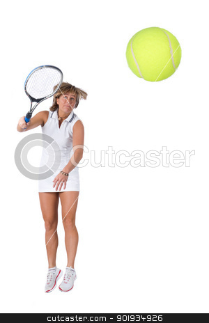 Playing tennis stock photo, Full isolated picture of a  caucasian woman playing tennis by Picturehunter