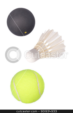 Tennis, squash and badminton stock photo, Full isolated balls from tennis, squash and badminton (shuttlecock) by Picturehunter