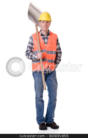Construction worker with a shovel stock photo, Full isolated studio picture from a young construction worker by Picturehunter