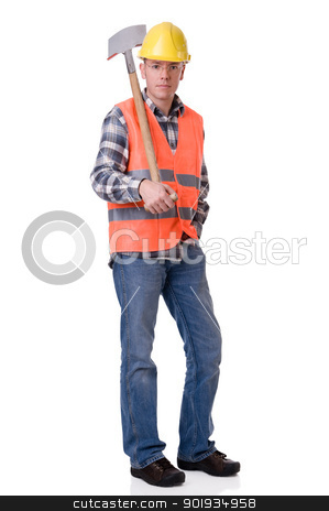 Construction worker with a spate stock photo, Full isolated studio picture from a young construction worker with a spate by Picturehunter