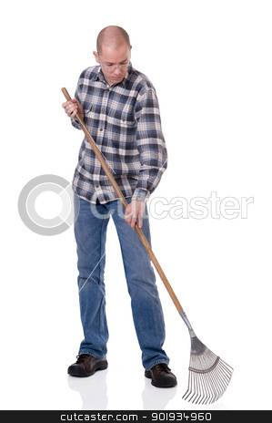 Gardener with a rake stock photo, Full isolated studio picture from a young  gardener with a rake by Picturehunter