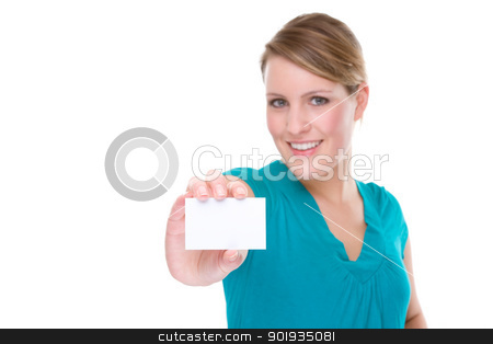 Woman With Business Card stock photo, Full isolated portrait of a beautiful caucasian woman with a blank business card by Picturehunter