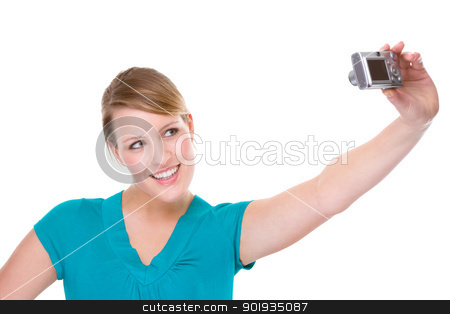 Woman With Digital Camera stock photo, Full isolated portrait of a beautiful caucasian woman with a digital camera  by Picturehunter