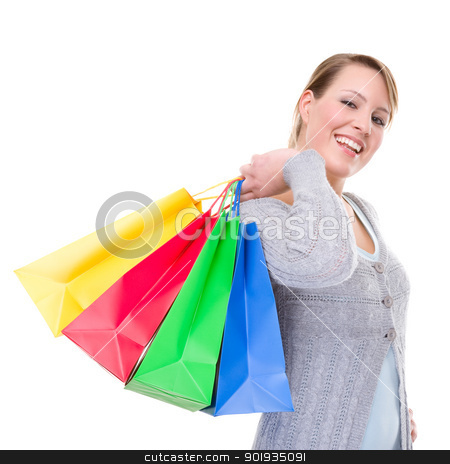 Shopping Time stock photo, Full isolated portrait of a beautiful caucasian woman with some shopping bags by Picturehunter