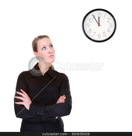 Woman with clock stock photo, Full isolated portrait of a beautiful caucasian businesswoman locking at the clock by Picturehunter