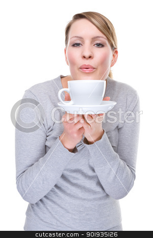 Woman with cup stock photo, Full isolated portrait of a beautiful caucasian woman with cup by Picturehunter
