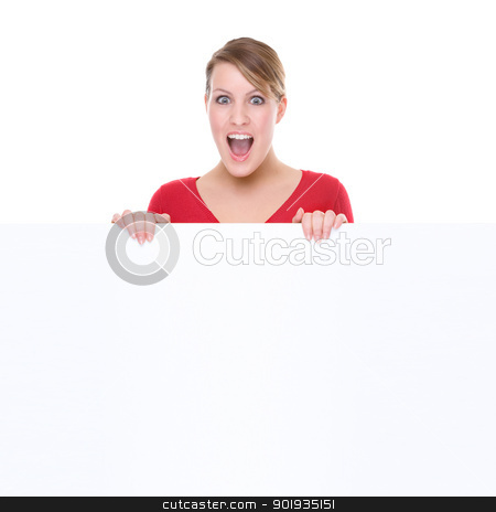 Woman with blank sign stock photo, Full isolated portrait of a beautiful caucasian woman with a blank sign by Picturehunter