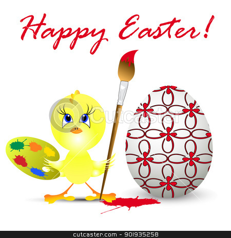easter holiday illustration with chicken, isolated on white back stock photo, easter holiday illustration with chicken, isolated on white background by aarrows