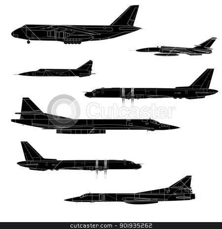 Combat aircraft. Team. Colored vector illustration for designers stock photo, Combat aircraft. Team. Colored vector illustration for designers by aarrows