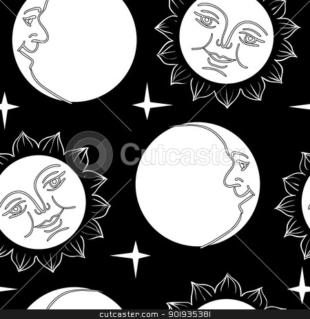 Seamless wallpaper the Moon and Sun with faces  stock photo, Seamless wallpaper the Moon and Sun with faces  vector background by aarrows