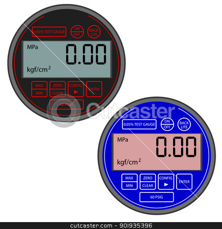 The modern digital gas manometer  stock photo, The modern digital gas manometer isolated on white background by aarrows