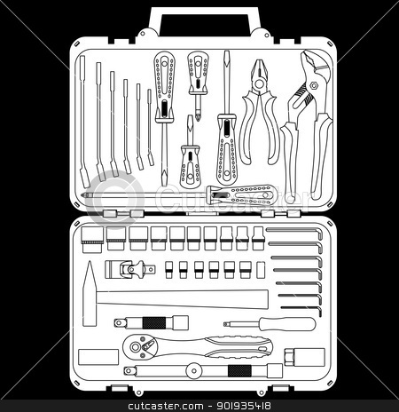 vector set of different tools  in a box stock photo, vector set of different tools  in a box by aarrows