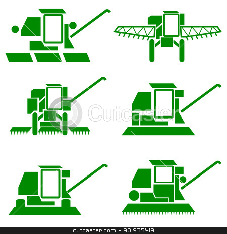 harvesting combine  stock photo, vector agricultural vehicles harvesting combine silhouettes set by aarrows