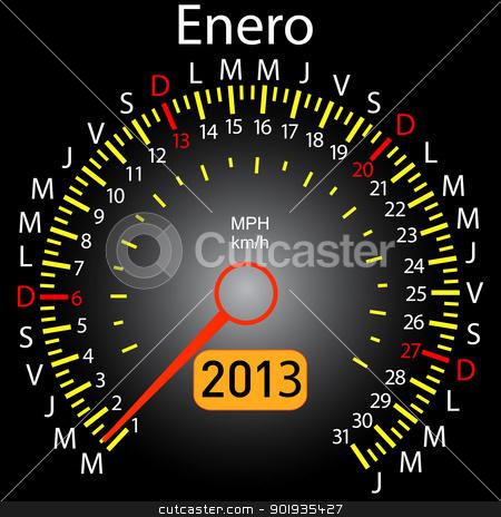 2013 year calendar speedometer car in Spanish. January stock photo, 2013 year calendar speedometer car in Spanish. January by aarrows