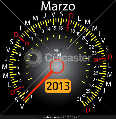 2013 year calendar speedometer car in Spanish. March stock photo, 2013 year calendar speedometer car in Spanish. March by aarrows