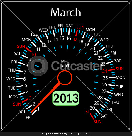 2013 year calendar speedometer car in vector. March. stock photo, 2013 year calendar speedometer car in vector. March. by aarrows