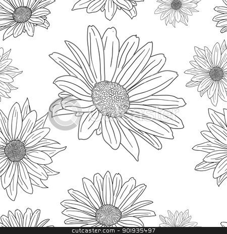 Hand drawn floral wallpaper with set of different flowers.  stock photo, Hand drawn floral wallpaper with set of different flowers. Could be used as seamless wallpaper, textile, wrapping paper or background by aarrows