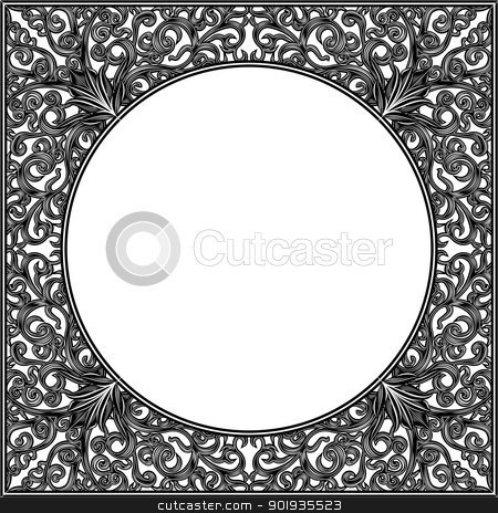 Ornamental frame stock vector clipart, Ornamental frame victorian style by Moenez
