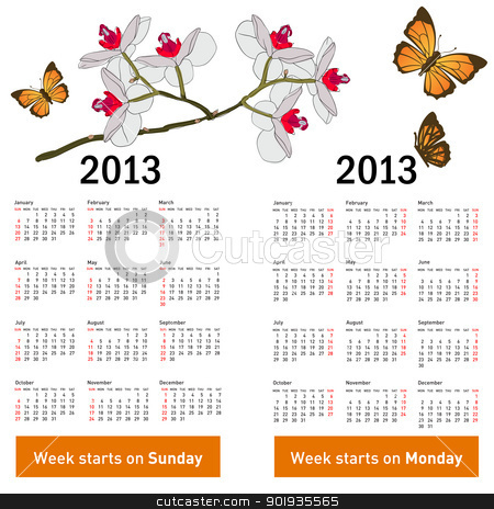 Stylish calendar with flowers and butterflies for 2013.  stock photo, Stylish calendar with flowers and butterflies for 2013. Week starts on Monday. by aarrows