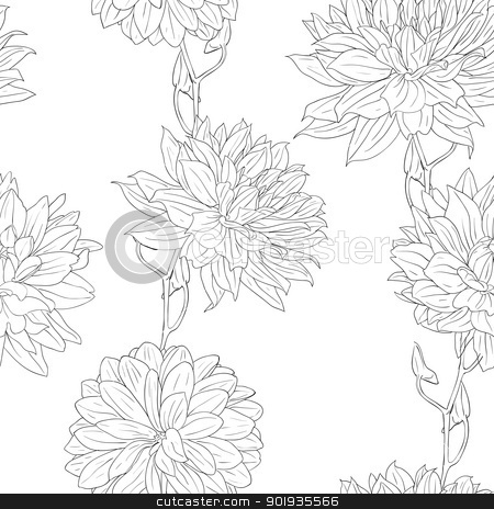Hand drawn floral wallpaper with set of different flowers. stock photo, Hand drawn floral wallpaper with set of different flowers. Could be used as seamless wallpaper; textile; wrapping paper or backgr by aarrows